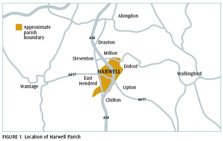 Map showing Location of Harwell Parish