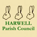Logo of Harwell Parish Council with 3 hares' heads above the council name