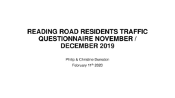 READING ROAD RESIDENTS PRESENTATION